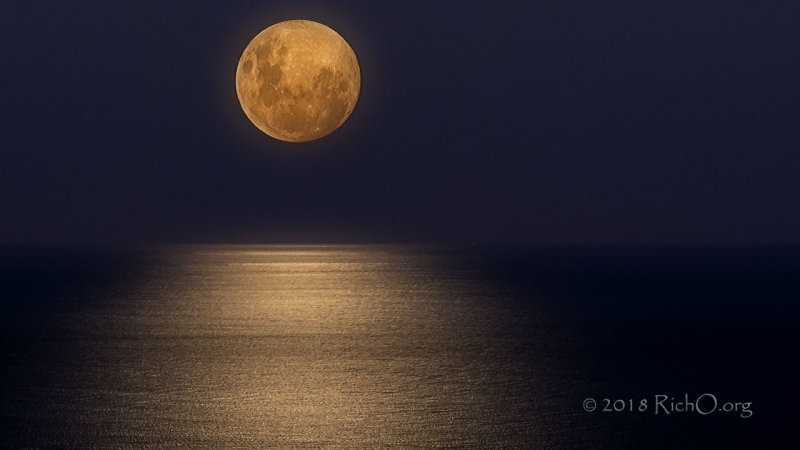 Moon Glow Ocean Below