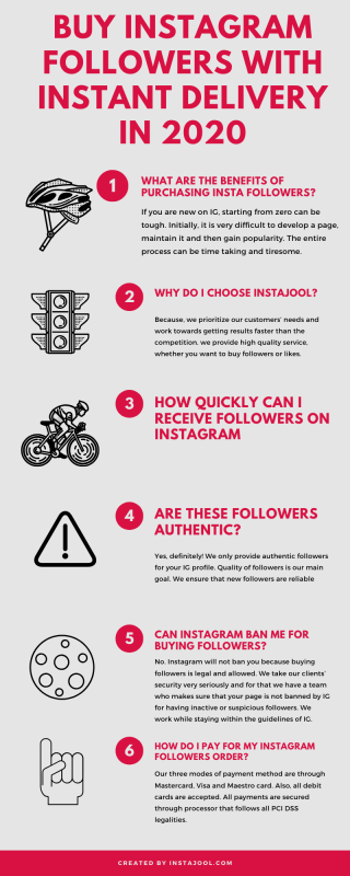 Buy Instagram Followers with Instant Delivery in 2020 Infographic by Instajool.com