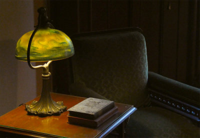 Jay Gould's Study, with lamp by Tiffany,  Lyndhurst Mansion, Tarrytown, New York, 2019
