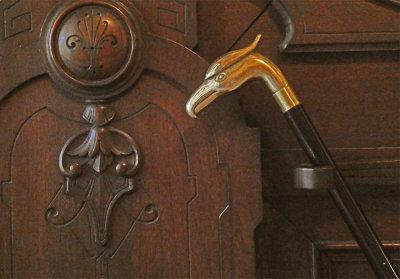 Jay Gould's cane, Lyndhurst Mansion, Tarrytown, New York, 2019