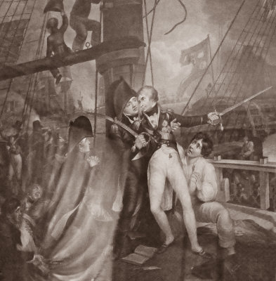 Death of Lord Nelson at Trafalgar, displayed at Boscobel Mansion, Garrison, New York, 2019