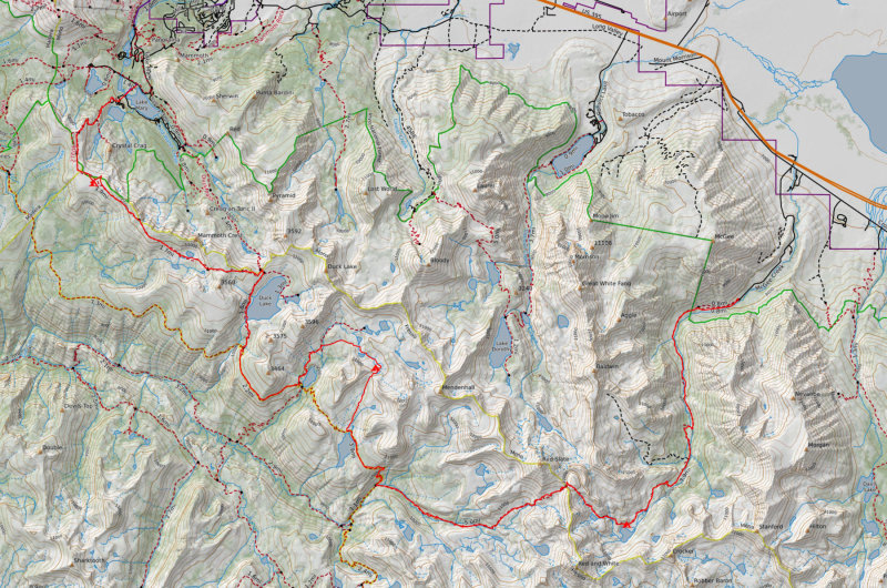 Map of the hike- McGee trailhead to Mammoth Lakes