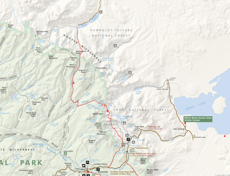 Map of our 3 day hike on and off trail from Twin Lakes campsite to Tuolumne Meadows