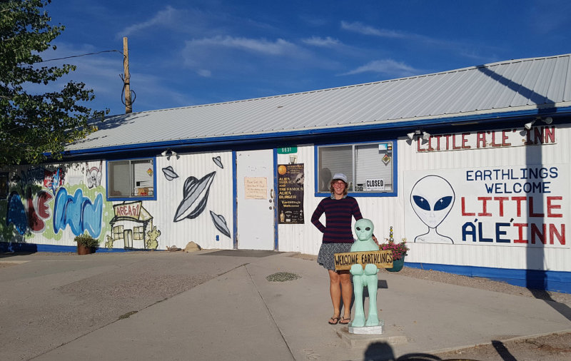 We drove through Nevada via the Extraterrestrial Highway and stopped at the Little Ale Inn Rachel!