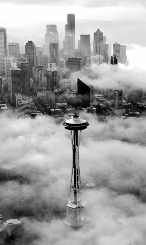 Vintage Seattle and Space Needle in Fog, Seattle, Washington 185