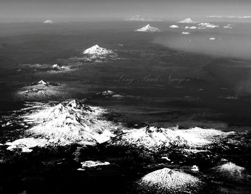 Mt Bachelor, Broken Top, Three Sisters, Mt Washington, Three Fingered Jack, Black Butte, Mt Jefferson, Mt Hood, Mt Adams, Mount