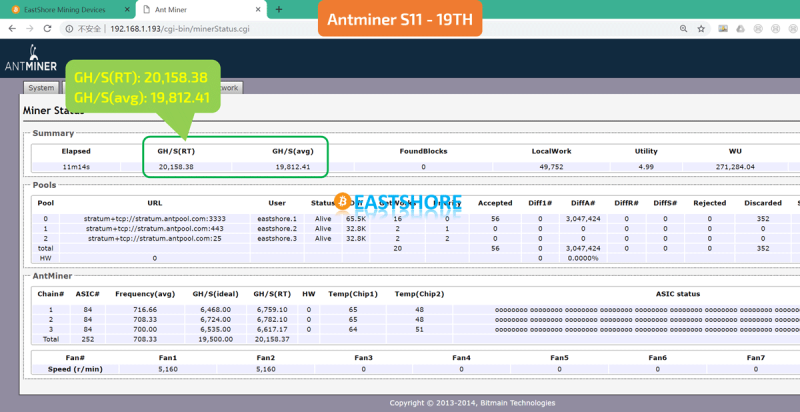 Antminer S11 20.5TH 7nm Bitcoin Miner Speed Test Screenshot.png