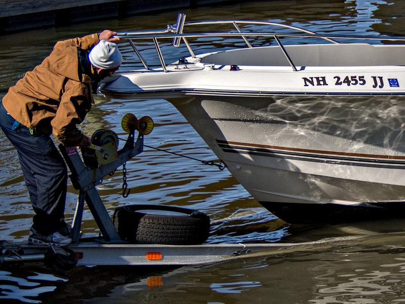 Bringing in the boat.
