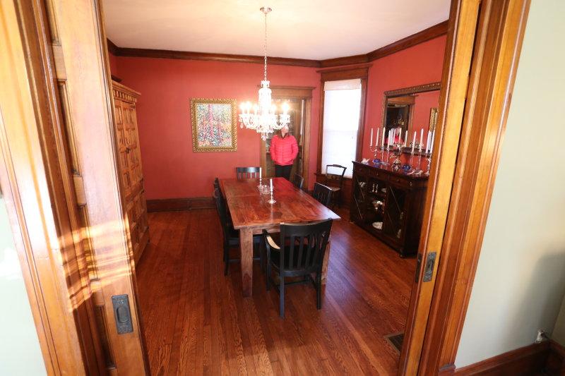Dining room from living room - pocket doors