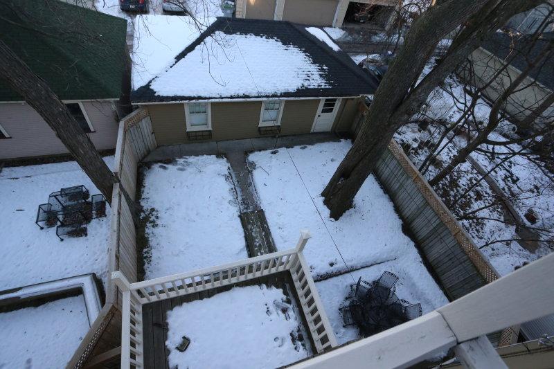 Backyard from third floor balcony - second floor balcony below