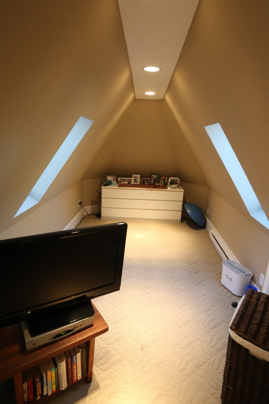 third floor suite other room with skylights