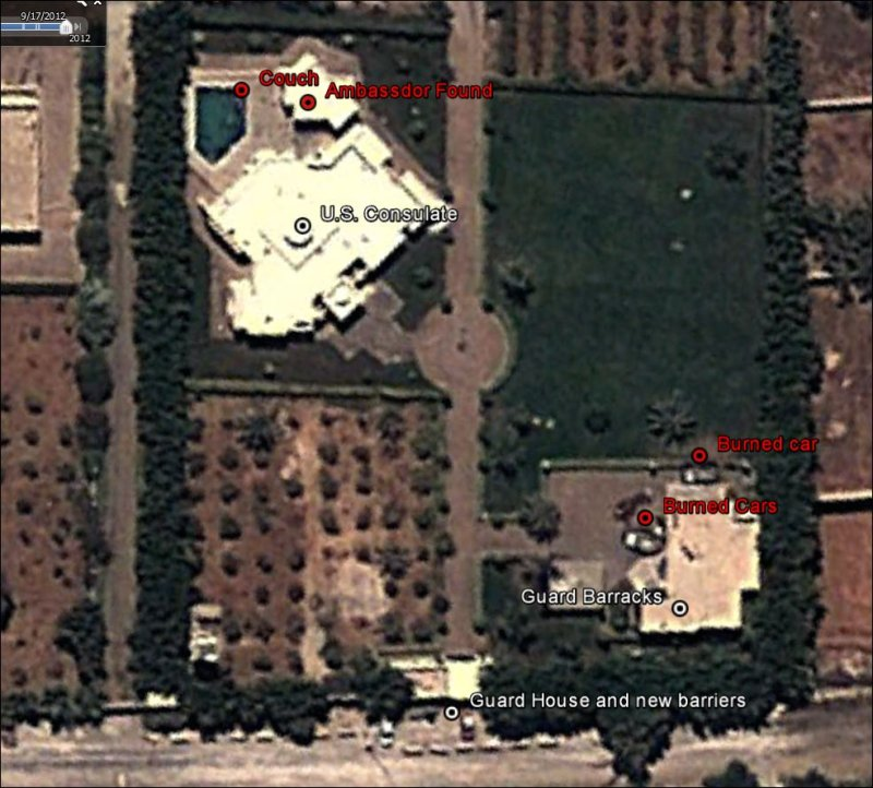 Benghazi PostAttack Satellite Revelations Inform The Pundits - Benghazi us consolate attack on google maps