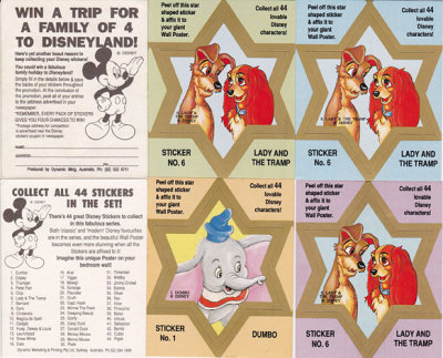20 1992 Australia Dynamic Disney Funny Phrase Stickers Set