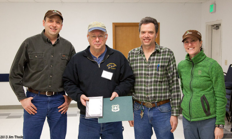 Cowlitz Valley Ranger District personel presenting Lewis County Award