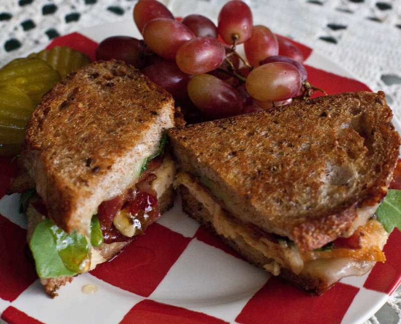 Grilled Chicken Sandwich with Bacon, Cheese, Arugula & Hot Pepper Jelly