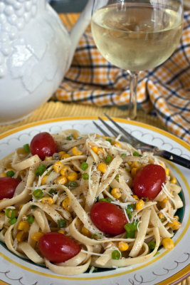 Fettucine with Corn and Tomatoes