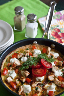 Roasted Chicken, Goat Cheese and Tomato Frittata