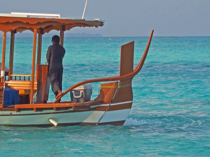 Steering the dhoni - rear view