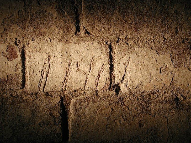 Alcatraz citadel. Phil Grossers convict #11461 carved into bricks