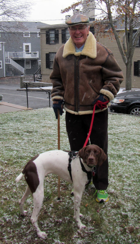 Man with His Shorthair Pointer Dog