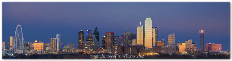 Dallas Skyline Panorama from East of Downtown 40x10