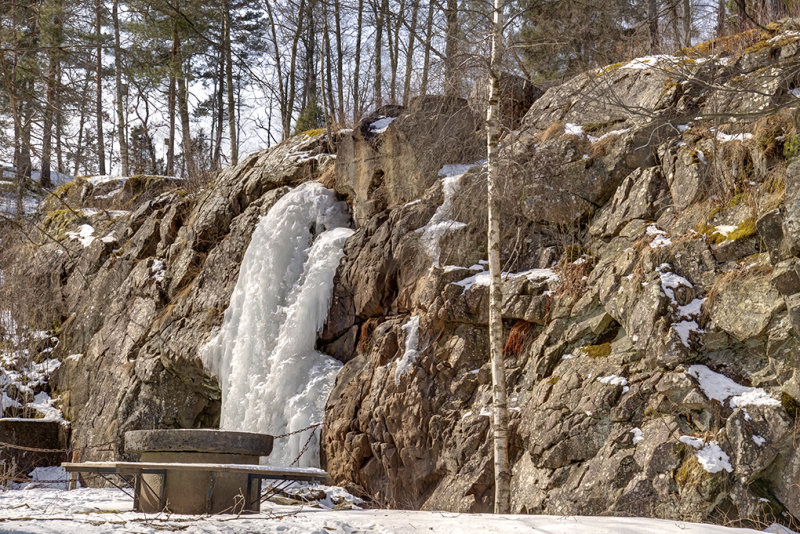 Bosgårdsfallet is frozen