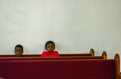 Young listeners, Greater First Baptist Church, West Helena, Arkansas, 2012