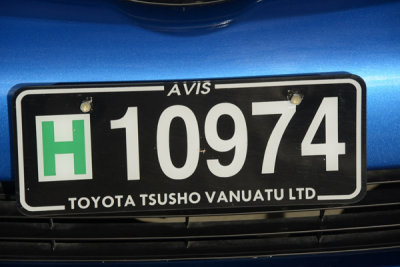 Vanuatu License Plate - Hire Car