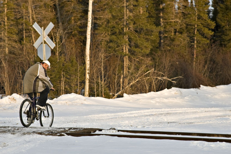Two wheels on the winter road