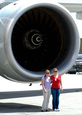 2003 - Karen and Donna with Boeing 777 engine