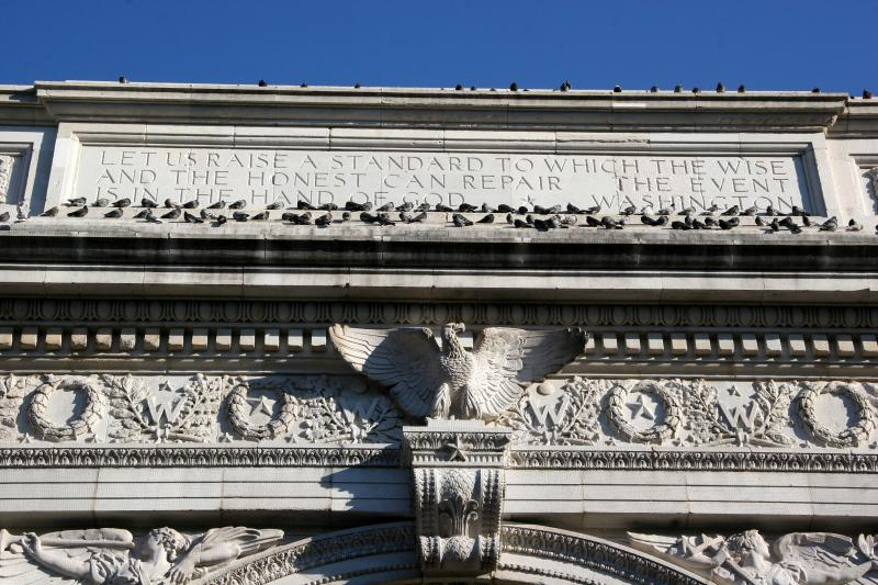 Washington Square Arch Inscription & Pigeons -  South Face