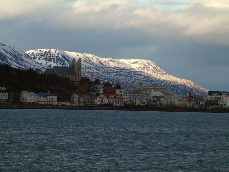 The Akureyri church and the center of Akureyri
