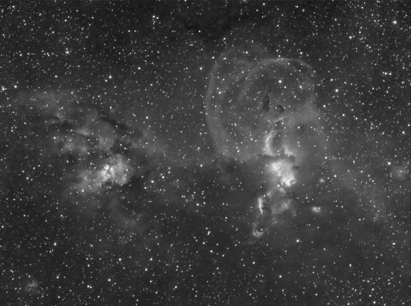 NGC 3576 and NGC 3603 - Luminance + H-alpha