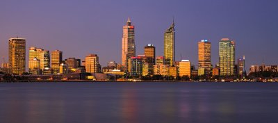 Perth skyline from across the river at dusk