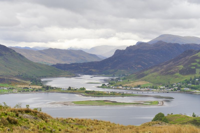 view of Lochs Alsh left, Long ahead & Duich right, from the top