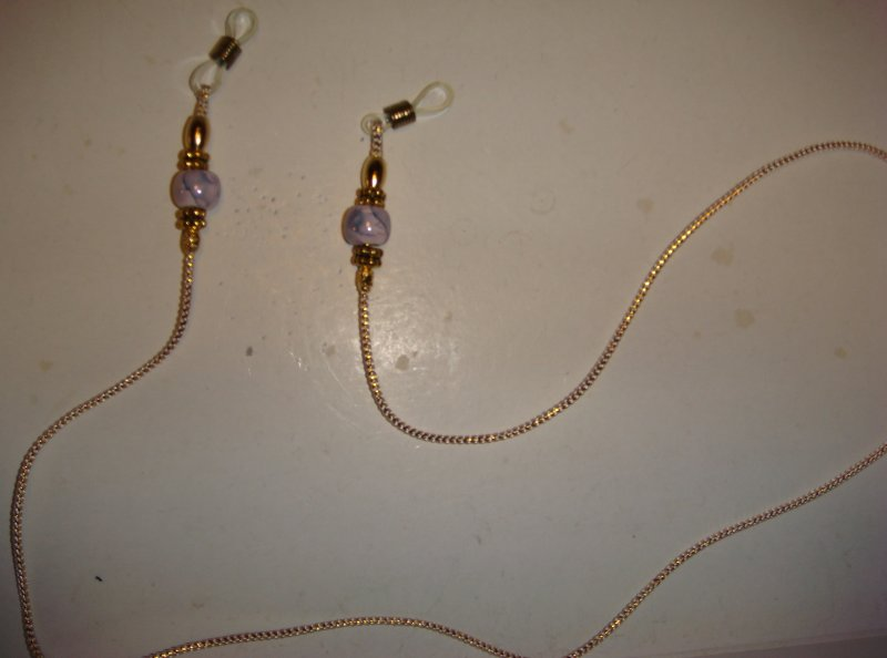Purple beads and Gold cord