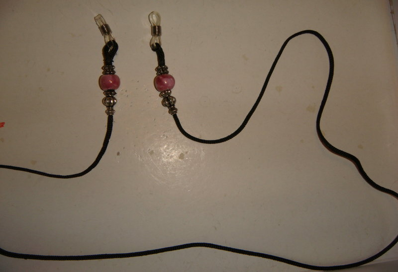 Rose Pink beads and Black cord