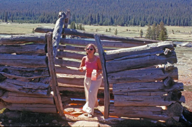 Day Hiker Fills Up At Natural Soda Spring  Near Tioga Pass