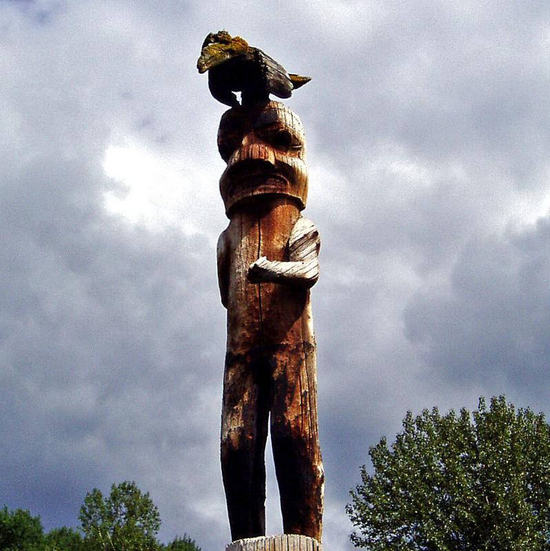 Raven Man Totem Pole
