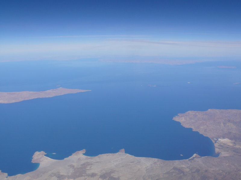Flying past the tip of the Baja, just over Mexico