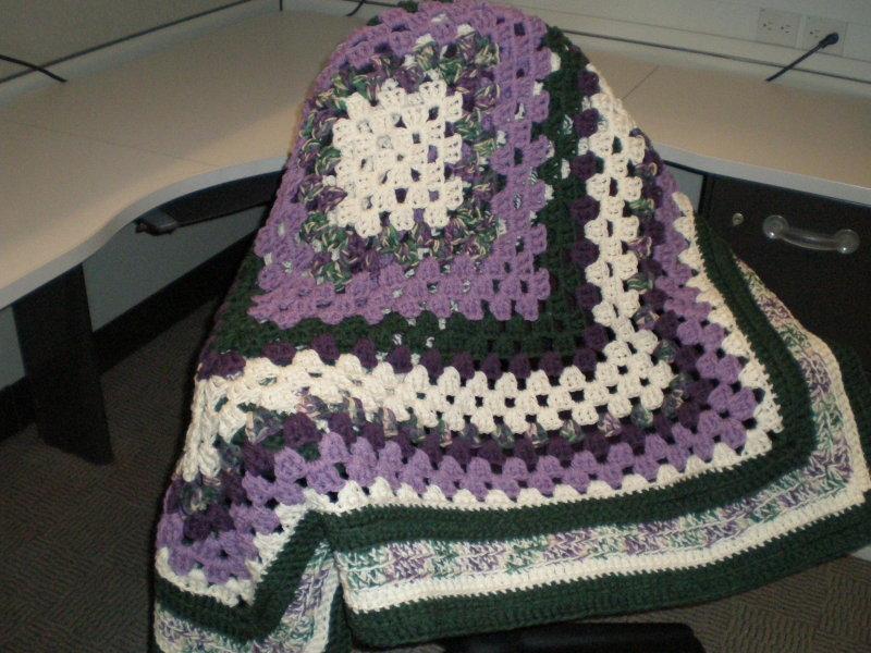 Purple  Green Square Throw $50.00