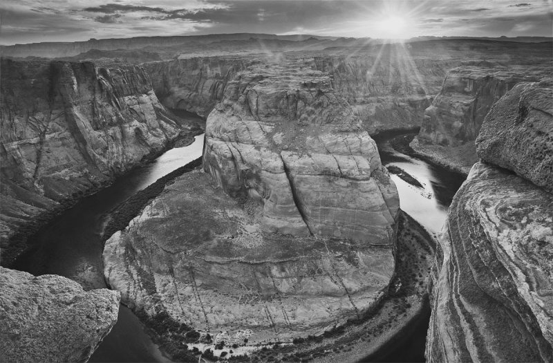 Setting Sun, Horseshoe Bend Black & White