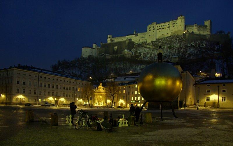 Salzburg castle from Kapitel Platz