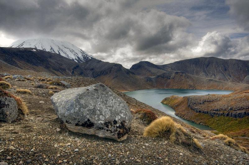 Upper Tama Lake with Mount Ngauruhoe