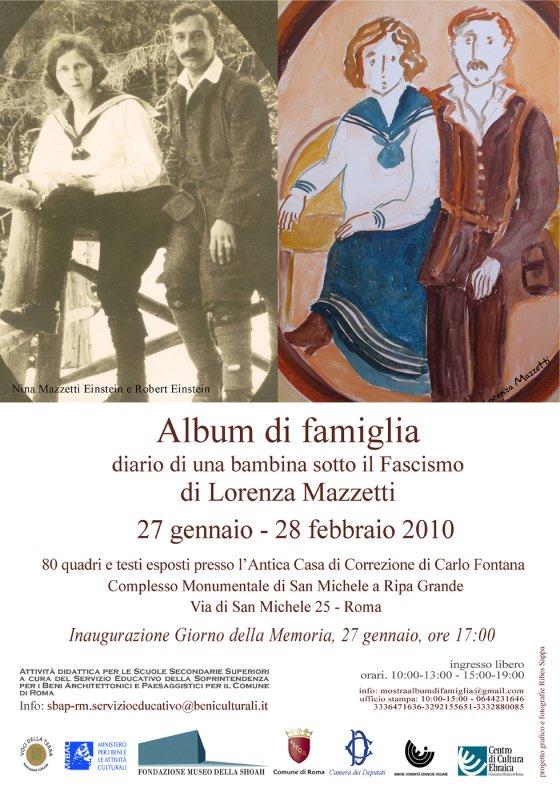 Locandina Mostra Album di Famiglia,  di Lorenza Mazzetti, Roma 27 gennaio - 27 febbraio 2010