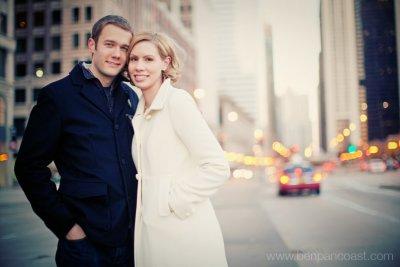 Michigan Avenue, Chicago, Engagement Portraits, Downtown