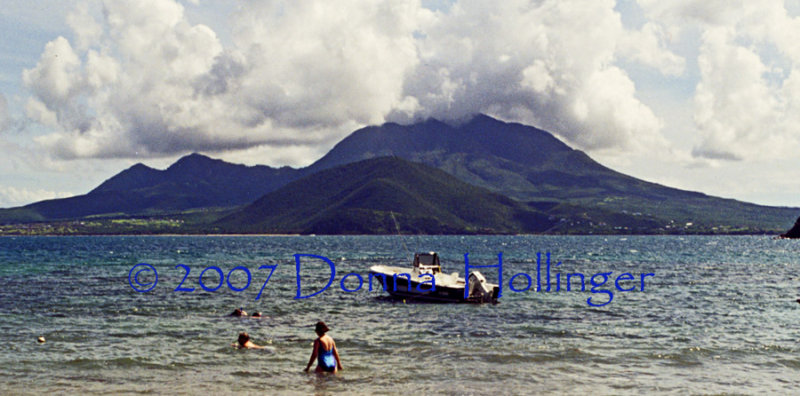 Nevis Island with Clouds