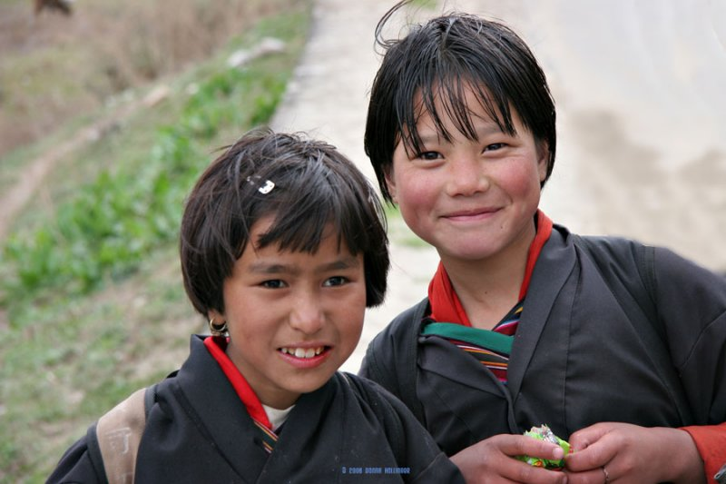 Two Little Girls Walking home from School