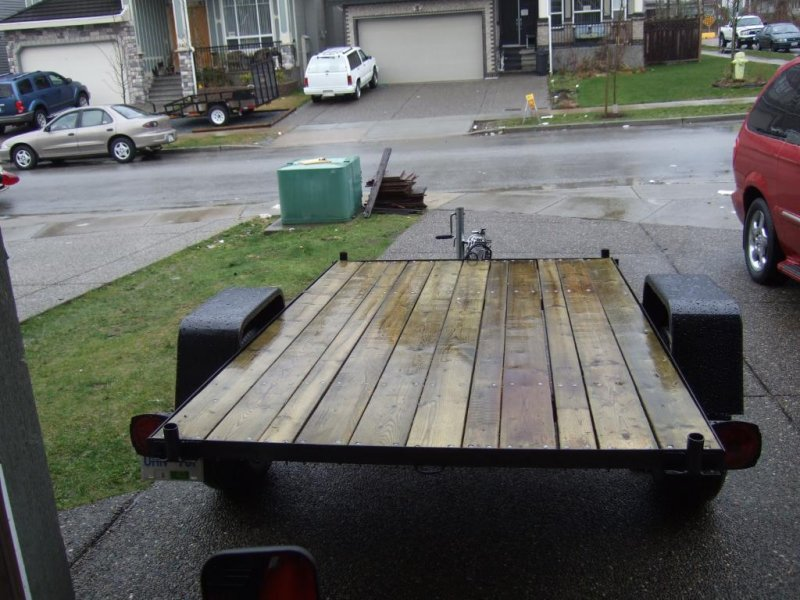 5x8 flat deck utility trailer quad ramps for Wood floor utility trailer