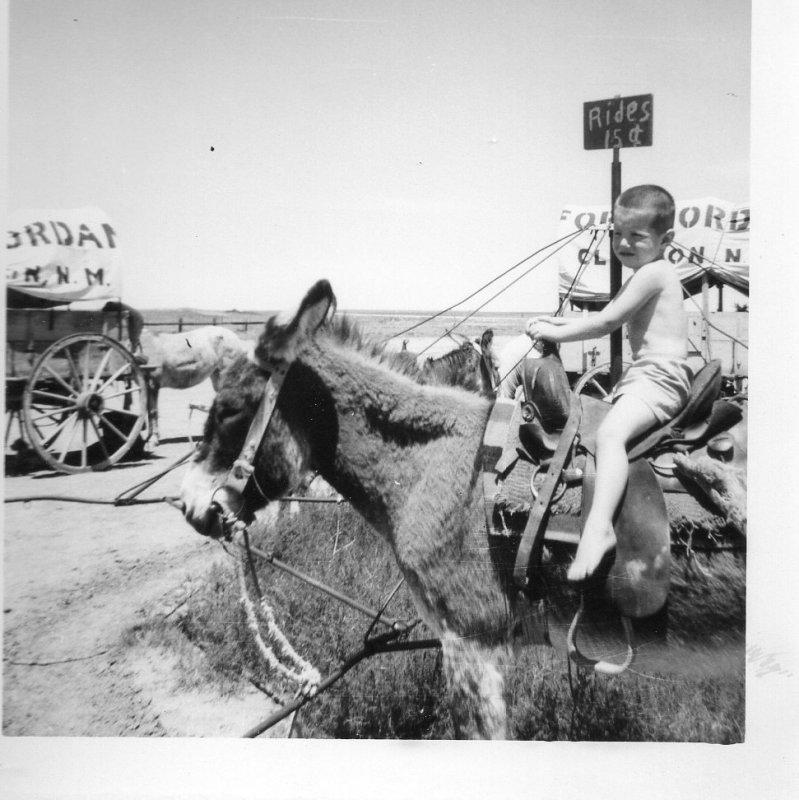 Doyle on donkey ride New Mexico Jun3 1959.jpg
